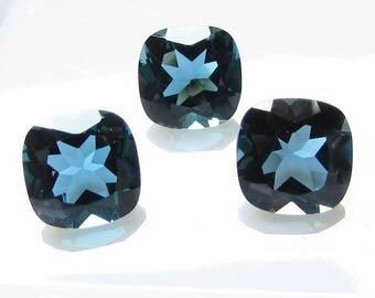 8mm London Blue Topaz Faceted Cushion Gemstone, Natural LONDON Blue Topaz Cushion Faceted Gemstone....