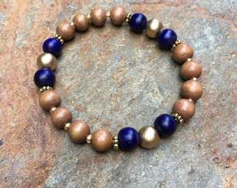 blue & gold brown wood beaded bracelet Game Day women's bracelet every day beaded stretch bracelet Lavish Lucy Designs mala spring colors