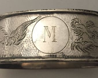 """Vintage silver initial """"M"""" with dragon design napkin ring"""