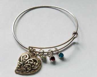 Silver Heart Bangle Bracelet with Birthstones