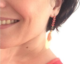 Earrings coral spikes and love birds feathers