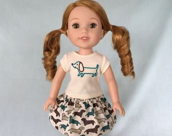 Dachshund T-Shirt and Print Skirt for Wellie Wisher/14.5 Inch Doll