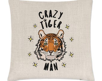 Crazy Tiger Man Stars Linen Cushion Cover