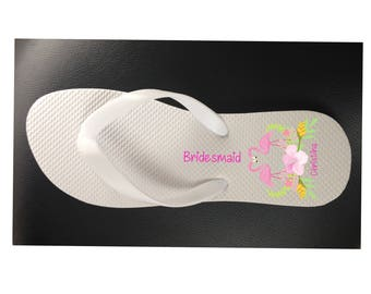Personalised Wedding or Hen/Bachelorette Party Flip Flops - Flamingo Design