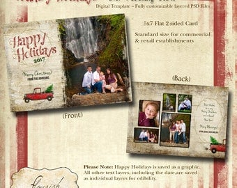 INSTANT DOWNLOAD - 5x7H Christmas Card Photoshop template - Country Holidays