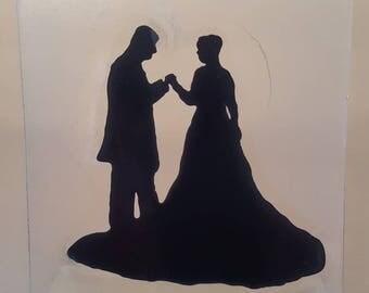 Custom glass silhouette, cake topper, table decoration, personalised ornament, elegant decoration, anniversary gift, memorial glass