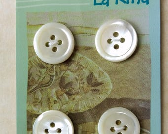 White Mother of Pearl Buttons. Set of 4. TRW32L#17/4H