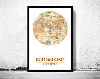 BENGALORE - city poster - city map poster print