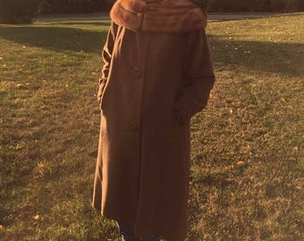 Vintage 1950s/60s Chocolate Brown Fur Wool  Coat