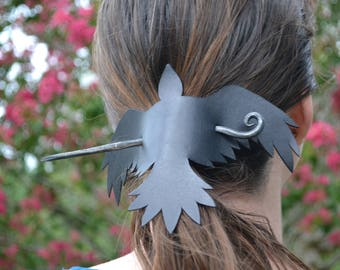 Large Leather Raven Forged Hair Pin