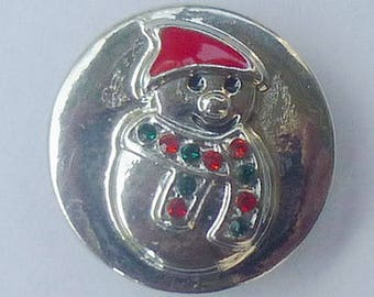 KC8557 Silver Plated Snowman with Enamel Accents
