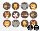 Safari Candy Labels. Printable Round Stickers - 0.75 inch Circles -Kiss Stickers. Birthday - Baby Shower Favors - Round Images Collage Sheet