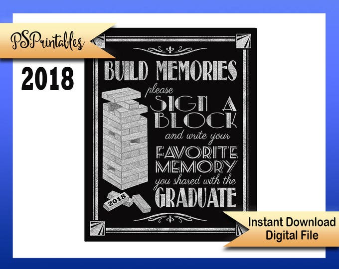 2018 Graduation sign, printable sign, Great Gatsby grad, graduation sign, 1920's graduation, Art Deco graduation party sign, BLACK & SILVER