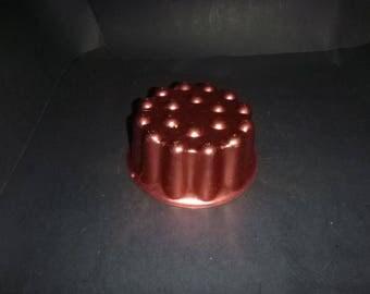 """Copper aluminum """"cherry top""""  mold, vintage kitchen decor, cake or jello mold, copper aluminum wall decoration,"""