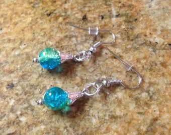 "Beautiful ""Ocean Blue"" Glass Bead Earrings"