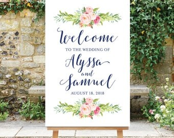 Wedding Welcome Sign - Large Welcome Sign - Pink Navy Blue - Floral Wedding Welcome - Rehearsal Welcome - Digital Printable The Blossom