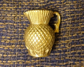 THISTLE MINIATURE JUG - From the 1930s - Solid Cast Brass - Marked on the Bottom with British Registration Number