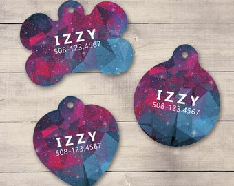 Red Blue Galaxy Pet ID Tag, Geometric Galaxy Pet Tag, Custom Pet Tag, Personalized Dog Tag, Dog ID Tag, Dog ID, Pet Tag, Cat Tag (0015)