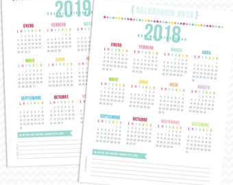 2017-2018 Calendarios Spanish - COLOR life plan Pages - TWO Sizes - Instant Digital Download