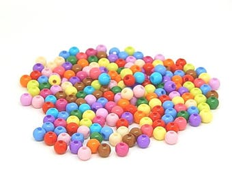 200 colorful 5mm acrylic round beads
