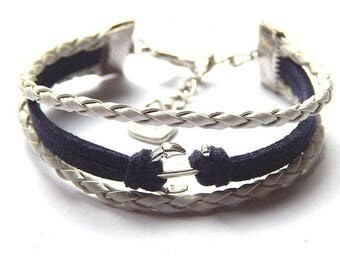 Creative DIY kit anchor bracelet Navy braided cord and suede, Navy Blue and white