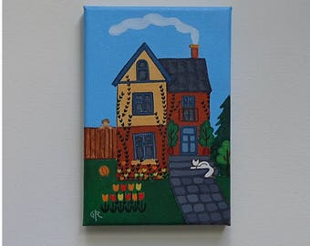 Acrylic Painting, Original Artwork, Folk Art, Naive Art, Victorian House with White Cat  and Garden, UNFRAMED (7 x 5 inches)