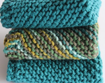 Knit Teal Dishcloths, Set of 3,  Hand Knit Washcloths, College Washcloths, Facial Cloths, Kitchen Dishcloths, Cotton Dishcloths