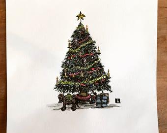KillerBeeMoto: Original Pen Sketch of Christmas Tree
