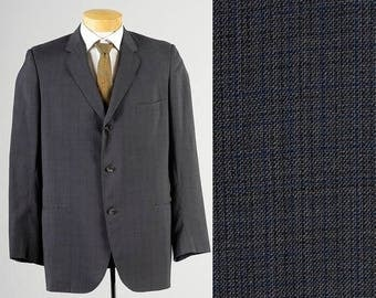 SALE Mens Vintage 50s Blue Gray Lightweight Three Button Rounded Lapel Jacket Mid Century 40L 41L