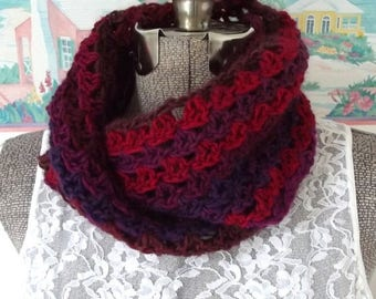 Handmade Crochet Scarf, Crimson, Red, Plum, Magenta, Infinity Scarf, Cowl, Snood