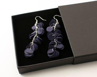 VUONO earrings - Dark violet reindeer leather cluster earrings - Dangle earrings
