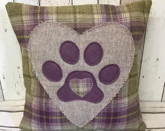 Heart and paws - purple, beige and green wool tartan , large frayed wool heart and paw cushion