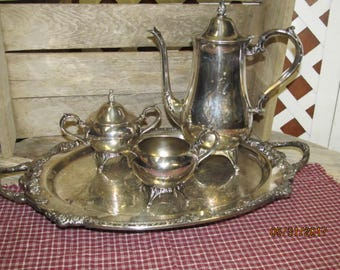 Vintage Silverplate Silver plate Tea Service Teapot Creamer Sugar Bowl Serving Tray Pedestal Footed Complete Set of 5 Pieces