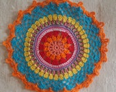 Mandala in crochet, doilies multicolor, Rainbow Mandala for use in flat or hang. 100% cotton Made in Italy.