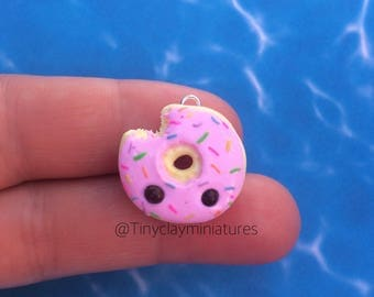 Donut pool float polymer clay charm