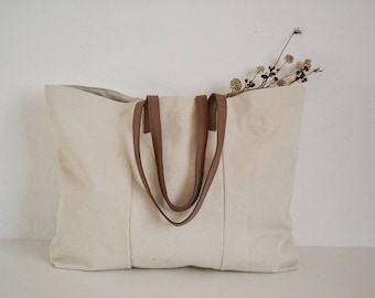 Natural cotton bag, Beach canvas bag, Market bag, Tote bag with genuine leather handles, Traveling bag, Large bag, Real leather handles bag,