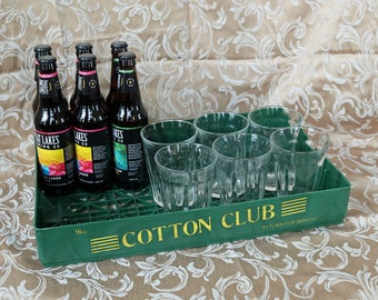 "Vintage Green Plastic Cotton Club Beverage Flat ~ 18"" x 12"" x 3""~ 1970s ~ Advertising ~ Mixer/Soda Pop ~ Crate"