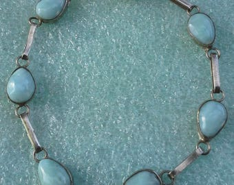 Vintage larimar dominican sided bracelet and pendant set on silver