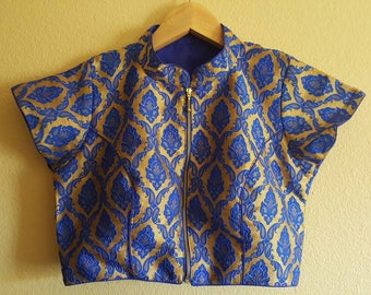 Royal Blue Brocade silk Blouse