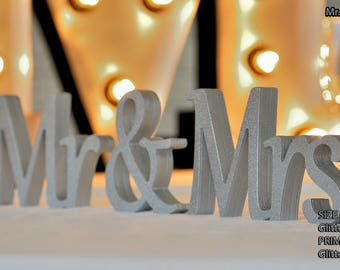 Mr and Mrs Wall Decorations, Plum Sign Mr & Mrs,