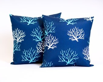 Outdoor Pillows, Coral throw pillow, removable, toss pillow, Beach Themed Pillows, decorative pillow