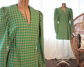 Vintage 1960s 1970s kelly green and caramel plaid check wrap front wool minidress mini dress long sleeves mod twiggy retro studio 54