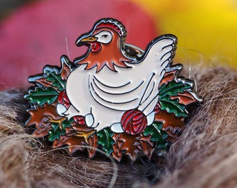 "Knitting Chicken Enamel Pin, 1""+, Lapel Pin, Bag Pin,"