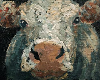 Cow Painting 8 x 10 Cow Art Original Farm Animal Painting of A Cow