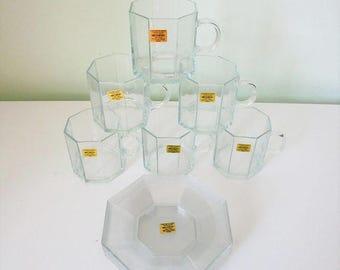 Arcoroc Octime set de 6 tasses & soucoupes en verre transparent NEUF