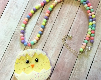 Kawaii Hatched Chick Beaded Necklace (option 1)
