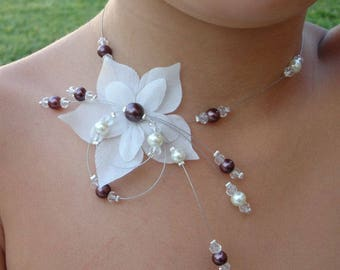 Set of jewelry for children, wedding, bride, little chocolate ivory flower girl necklace and bracelet set