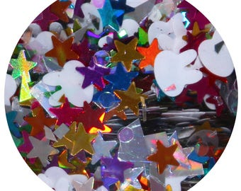 Down The Rabbit Hole | Body Glitter | Loose Festival Hair, Face or Skin Chunky Glitter | White Rabbit Glitter| Holographic Stars | 15 mL Pot