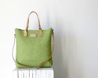 Felt and leather tote, cross body Leather tote bag, handmade bag,felt bag,felt & leather shoulder bag, large tote bag, felt tote bag