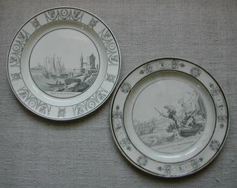 2 French Antique Collector Faïence Plates. Early 19th Century CREIL et MONTEREAU Terre de Fer Plates. French Ironstone Plates.Collectable!